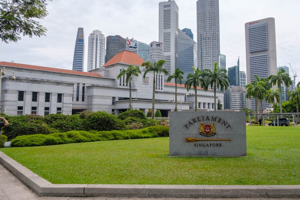 Outside view of the Singapore Parliament building.