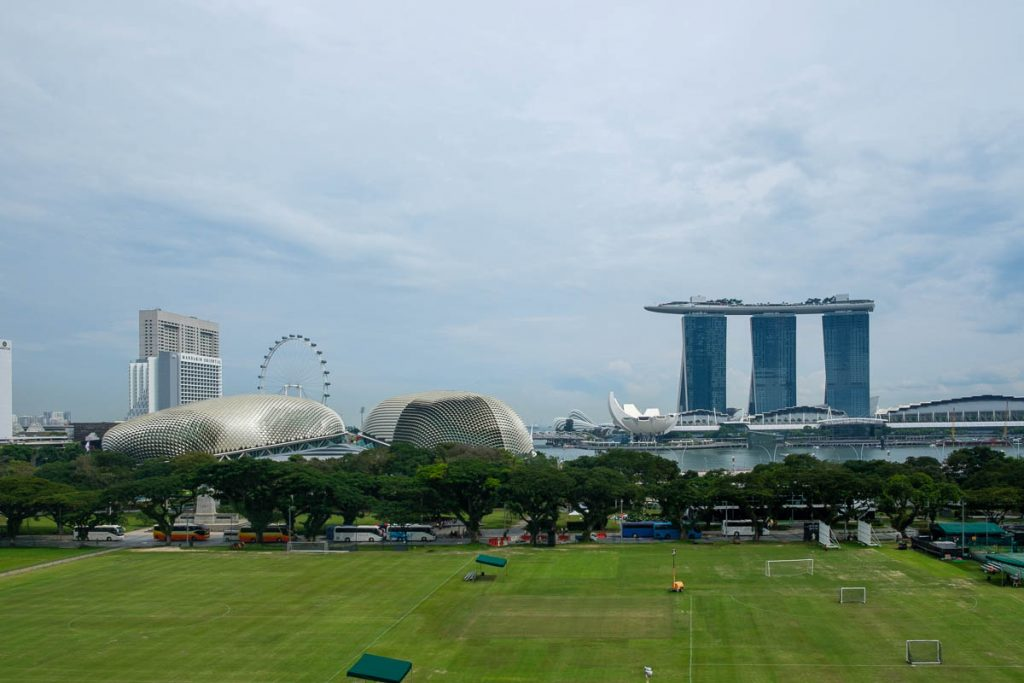 View of Marina Bay Sands from the top of the National Gallery of Singapore