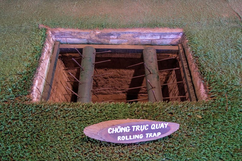 Rolling booby trap at Cu Chi Tunnels in Vietnam