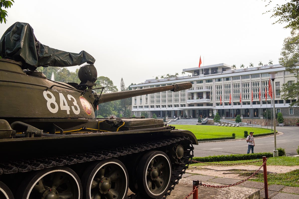 Tank outside reunification palace in vietnam