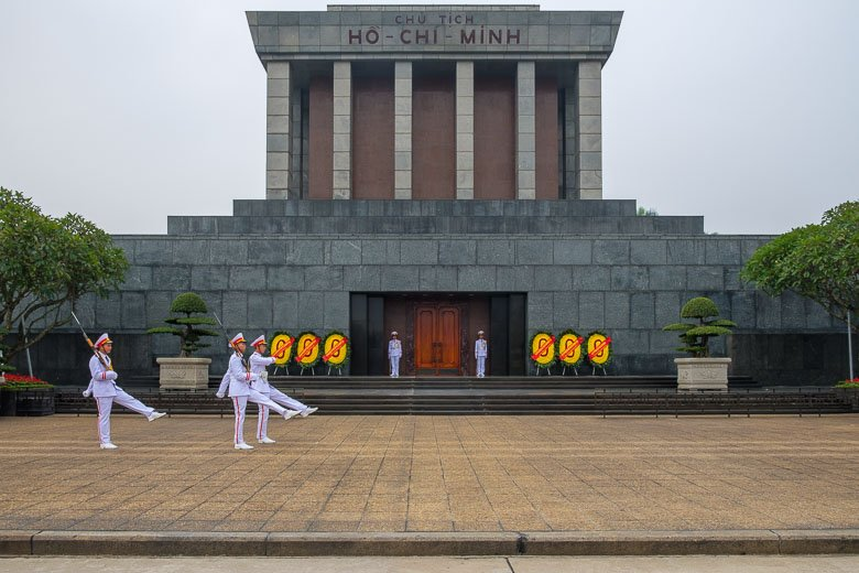 Honor Guard parade in front of Ho Chi Minh Mausoleum