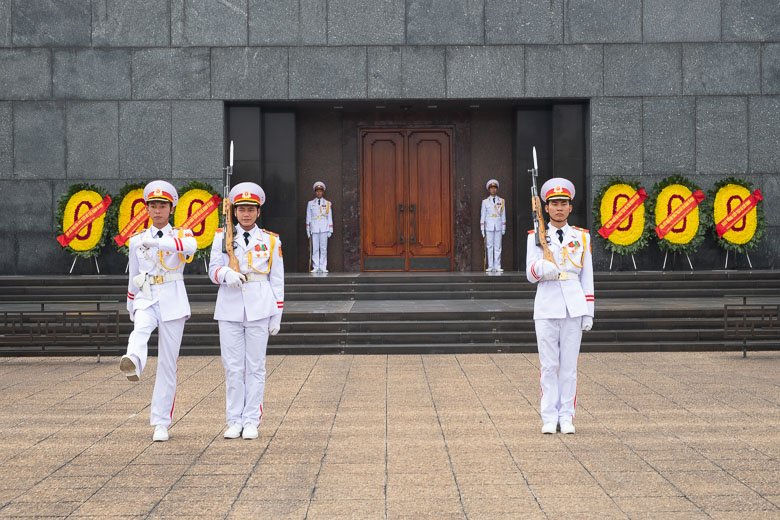 Vietnamese Honor Guard in front of the Ho Chi Minh Mausoleum