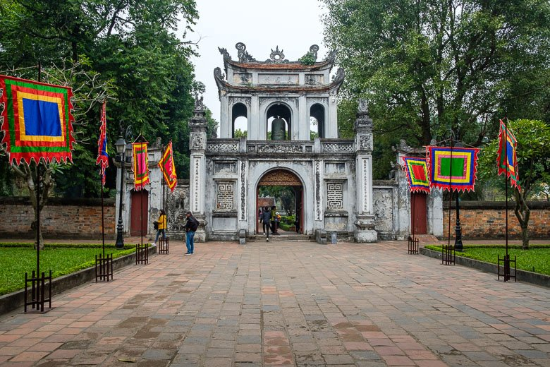 Entrance to Temple of Literature in Hanoi, Vietnam.