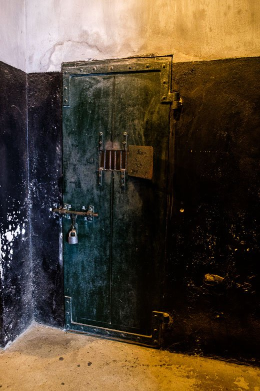Rusted door to a cell in Hanoi Hilton in Hanoi, Vietnam