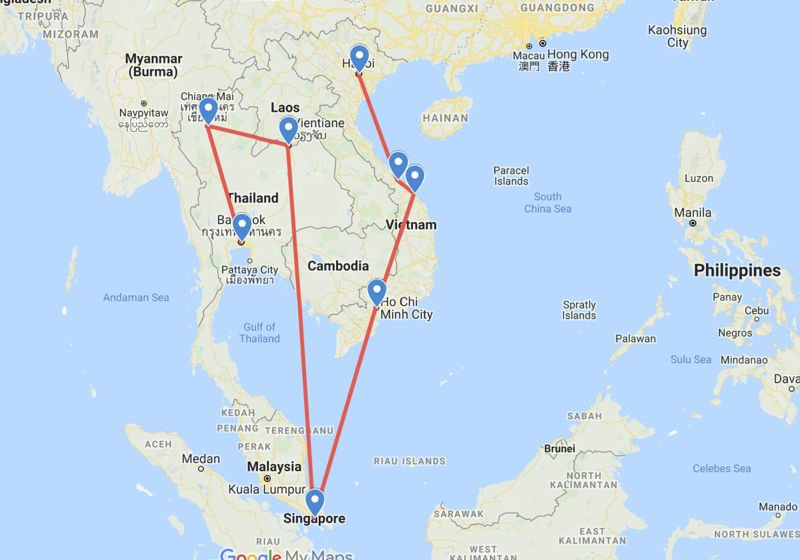 Map of my travels around Asia