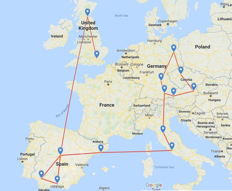 Map of my travels around Europe